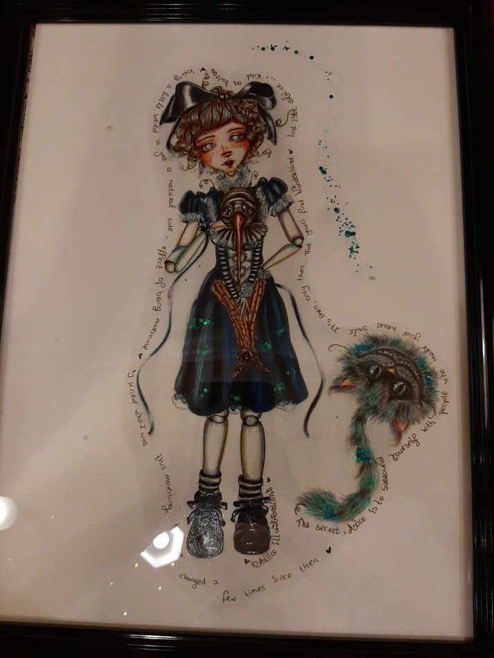 Original illustration of Alice & Cheshire Cat now available at Black widow Rotterdam 150 euro