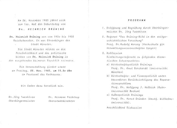 Programm des Festaktes zum 100. Geburtstag Heinrich Brünings (22. 11. 1985) - (Archiv Ulrich Warnecke)