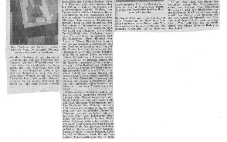 Zeitungsbericht WN 28.11.1955: Festakt für Heinrich Brüning  und Übergabe seines Portraits an die Schule (Archiv Ulrich Warnecke). Das Bild hängt bis heute im Paulinum.