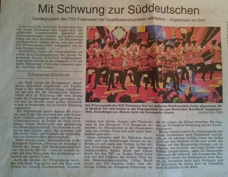 Bericht aus der Gießener Allgemeinen Zeitung am 09.10.2015