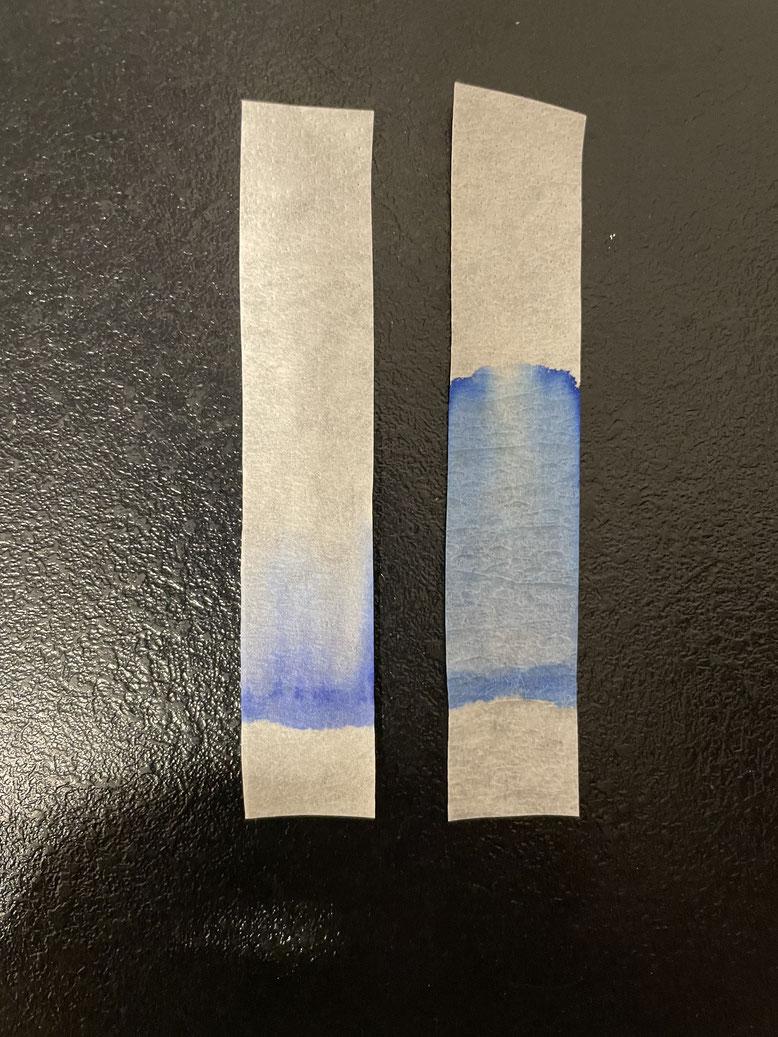 Re. Faber-Castell Königsblau; li.: Graf von Faber-Castell Royal Blue