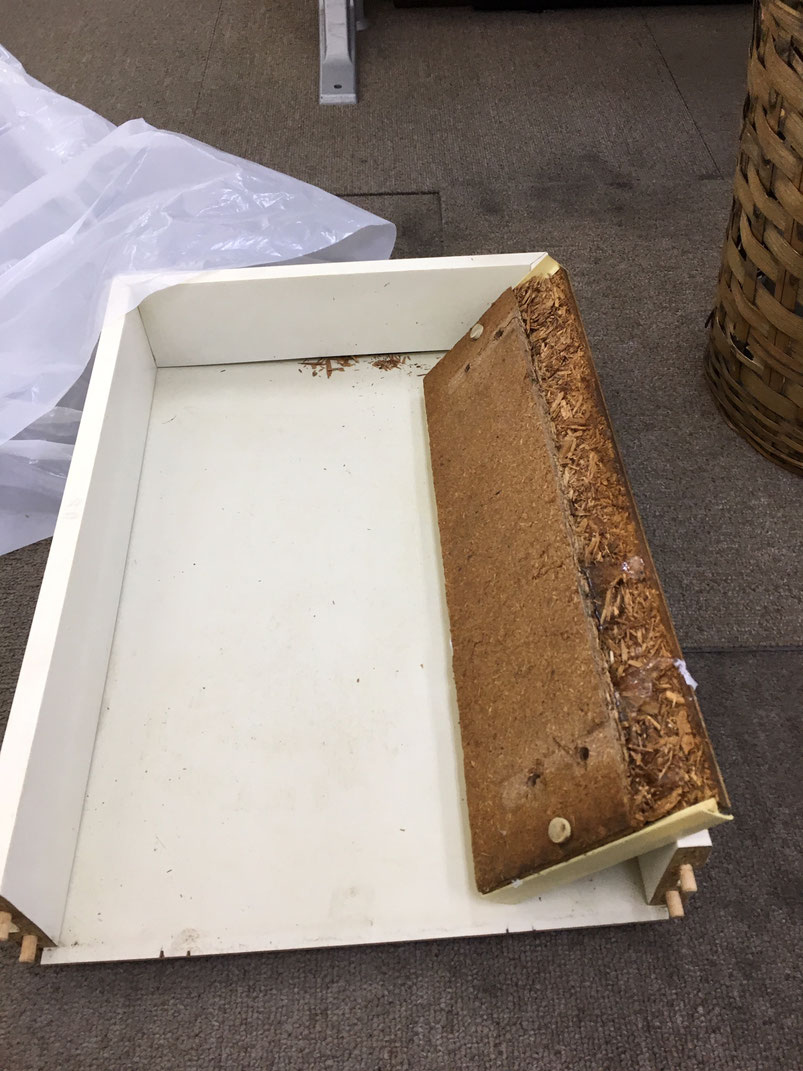 木材チップを高温圧縮して作った板 水に濡れてぼろぼろに。