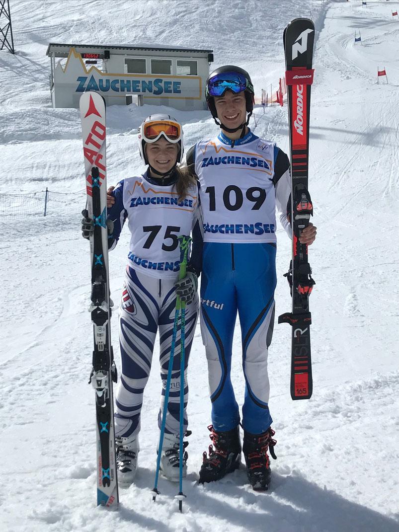 Die beiden Kreismeister 2019: Katharina Bachhuber vom SC Eggenfelden und Tobias Fürstberger vom Skiclub Wurmannsquick