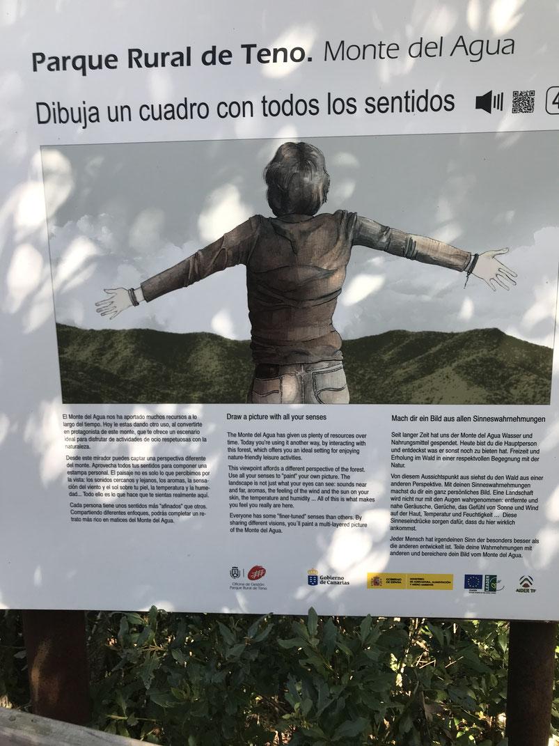 Mit allen Sinnen  die Strecke Erjos- Monte del Agua wahrnehmen