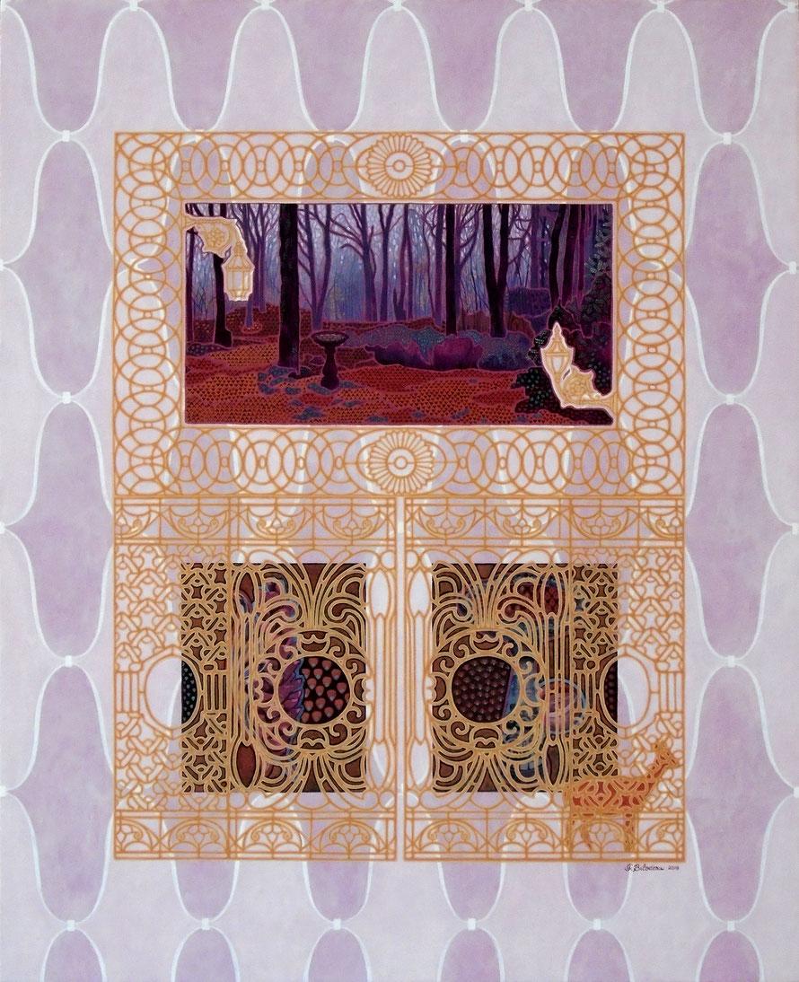 Attente, brèche, flux. Acrylique sur bois. 76 cm x 61 cm. 2019.  Copyright Johanne Bilodeau.  -- DISPONIBLE