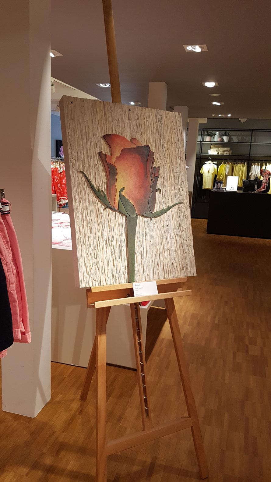 """""""Rose"""", Relief, Farbe, 80 cm x 60 cm, Josef Briechle 2017 © Kunstwirtschaftler"""