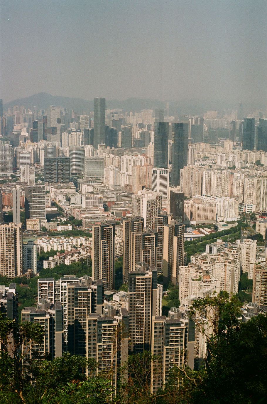 Shenzhen from above. We climbed a steep hill in 30 degree heat and 80% humidity for whatever reason. We could see Hong Kong from the very top