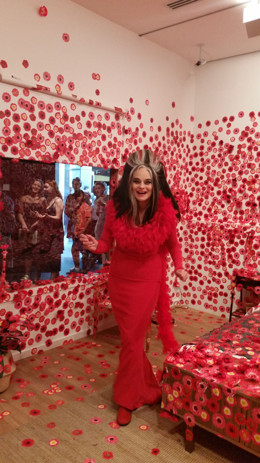 Madame Lark visits an exhibition at the National Gallery of Victoria (NGV) after her performance in the main hall.