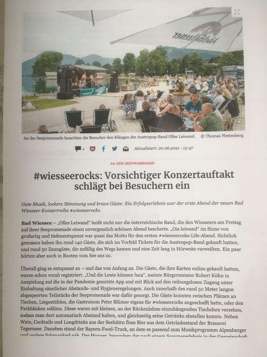 Olles Leiwand, die Austropop Cover Band aus Bayern und Salzburg bei #wiesseerocks in Bad Wiessee