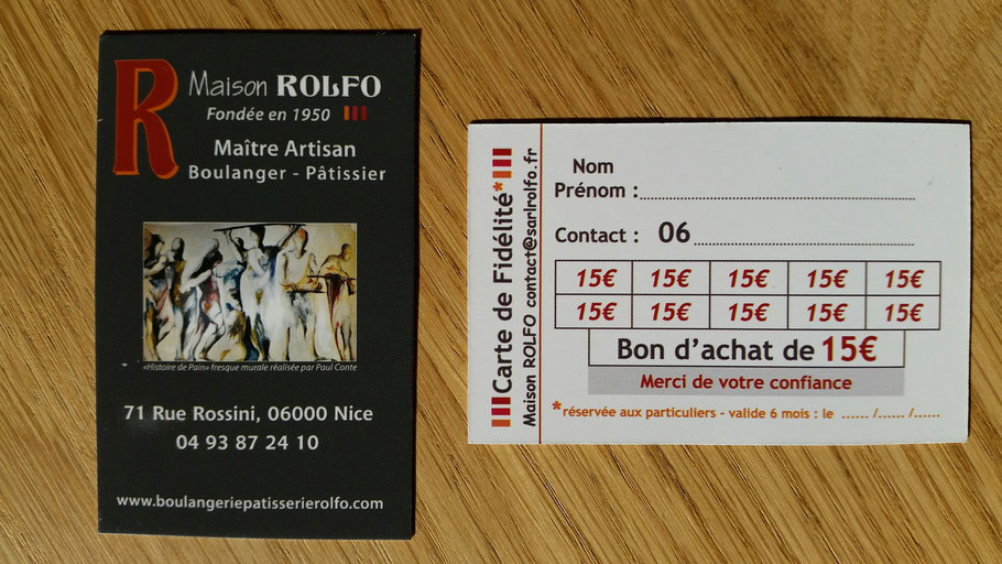 Carte de fidélité de la boulangerie pâtisserie ROLFO NICE 06000
