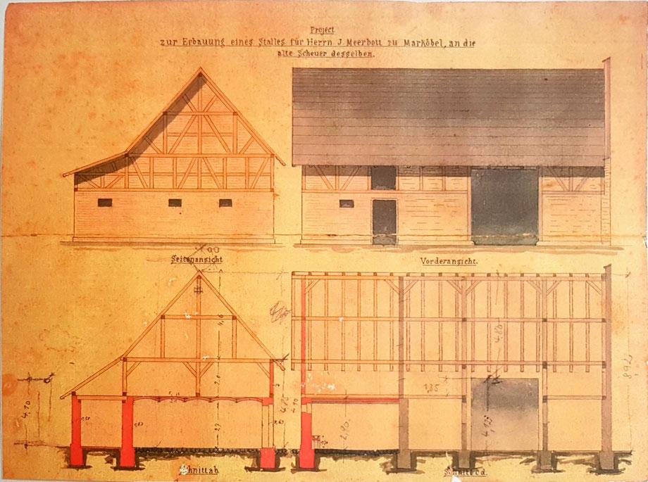Bauzeichnung des Kuhstalls, den Johannes Meerbott 1882 gebaut hat.