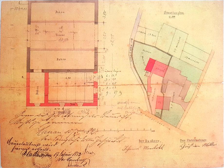 1882: Ältester Lageplan des Hofes und Bauzeichnung der Erweiterung des Kuhstalls von Johannes Meerbott