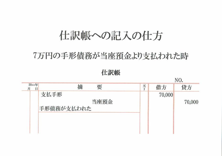 仕訳帳(支払手形・当座預金)