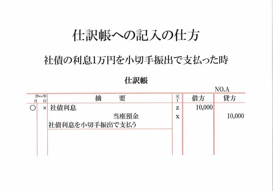 仕訳帳(社債利息・当座預金)