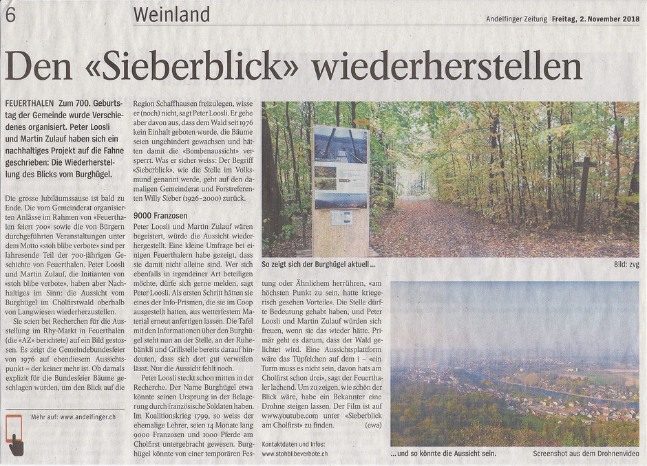 """""""Sieberblick"""" im Cholfirst, Andelfinger Zeitung 02.11.2018"""