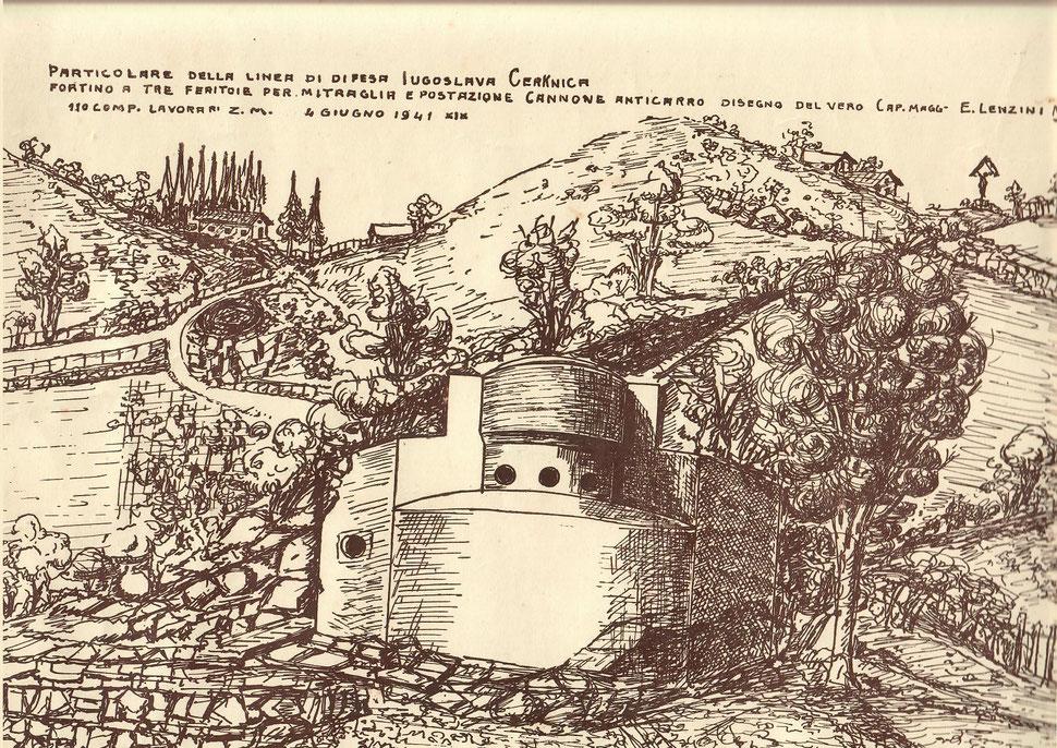 Cerkenica Iugoslavia Slovenia 1941 - Fortino a tre feritoie per mitragliatrici e posizione canone anticarro ( 110 compagnia lavoratori Z.M. - caporale maggiore E. Lenzini Milano )