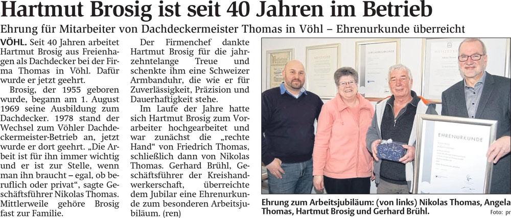 """Hartmut Brosig wurde für sein 40 jähriges Firmenjubiläum geehrt  ( """"Qwelle Waldeckische Landeszeitung März 2018"""" )"""
