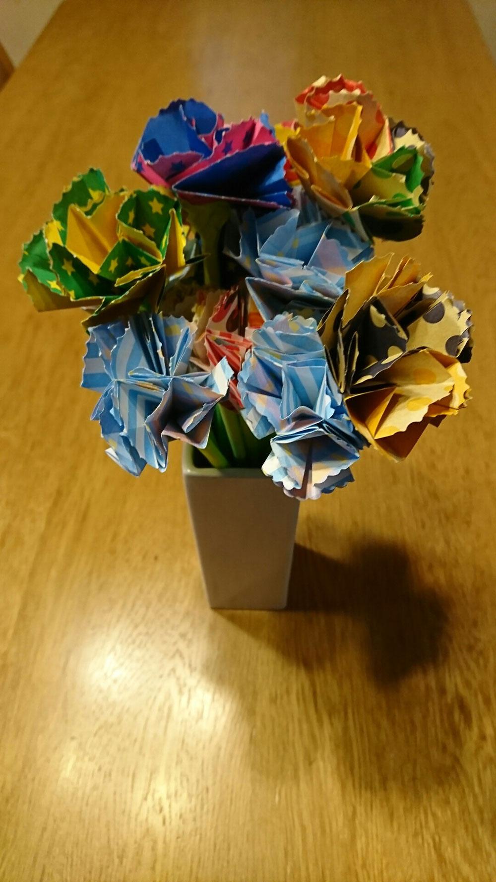ご利用者様の手作りの花束。感激です❗