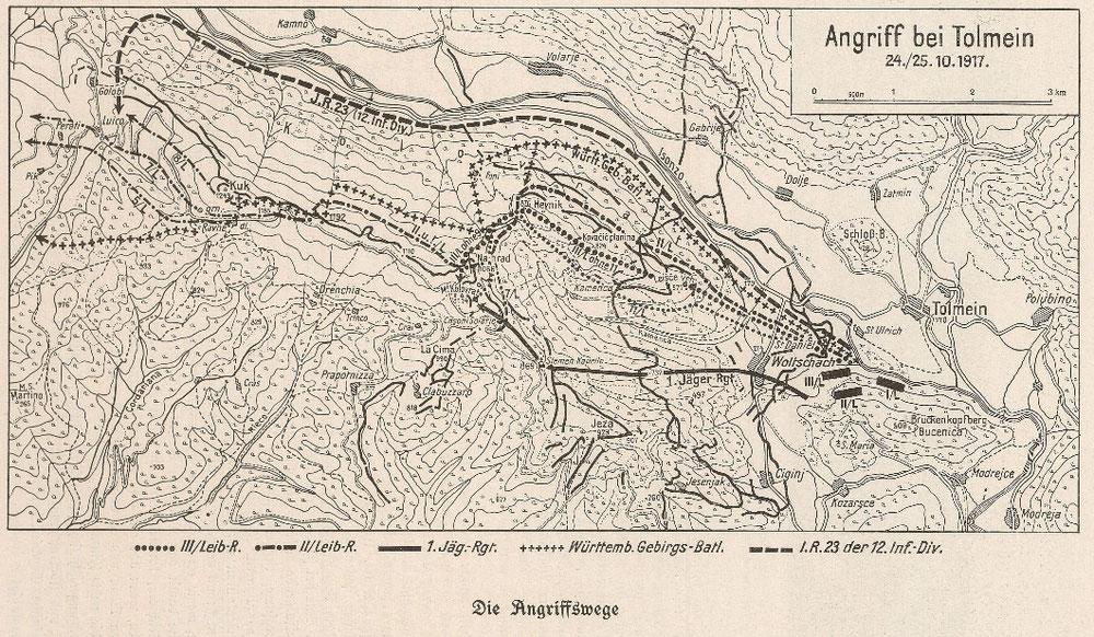 Karte der Angriffswege aus der Regimentsgeschichte des bay. Inf. Leib Regt.
