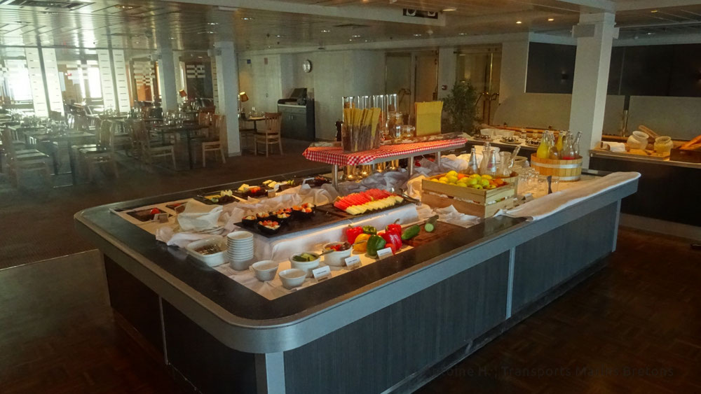 The breakfast buffet at the Explorer Steack House on board King Seaways.