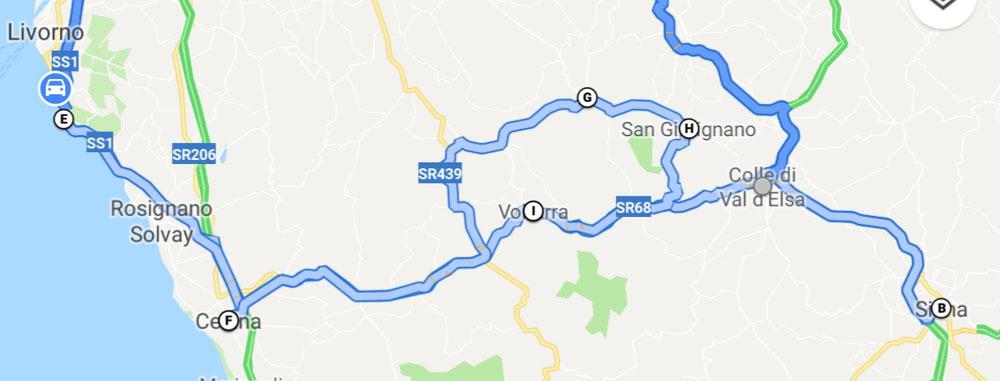 Also, wir sind dann ganz grob in Richtung Livorno gerollt und haben in einem bezauberten Städtchen angehalten. Es heißt: Colle di Val ď Elsa.