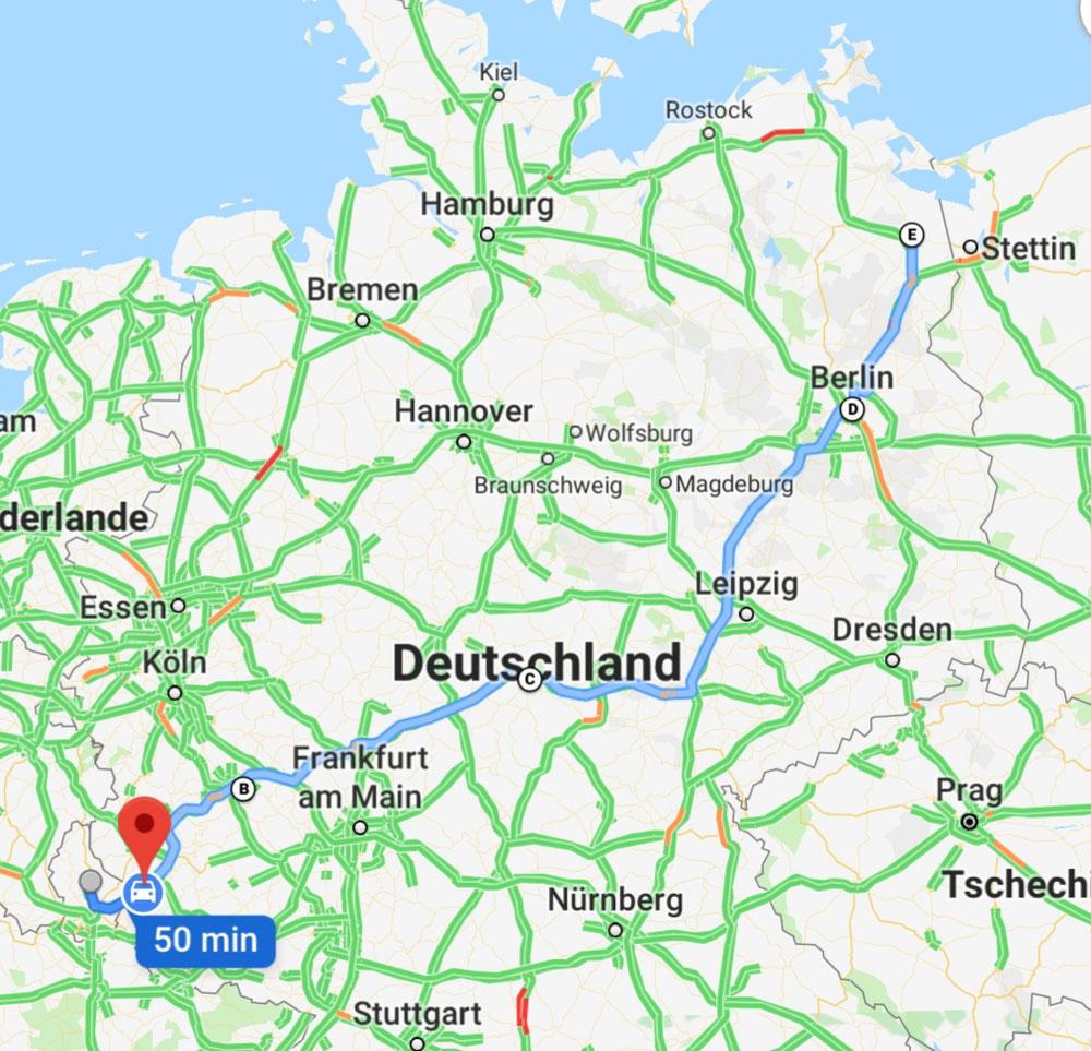 Einmal quer durch Deutschland - 1 000 Kilometer - dann sind wir erst zu Hause.
