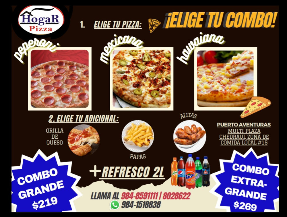 La mejor pizza que hay en Puerto Aventuras...