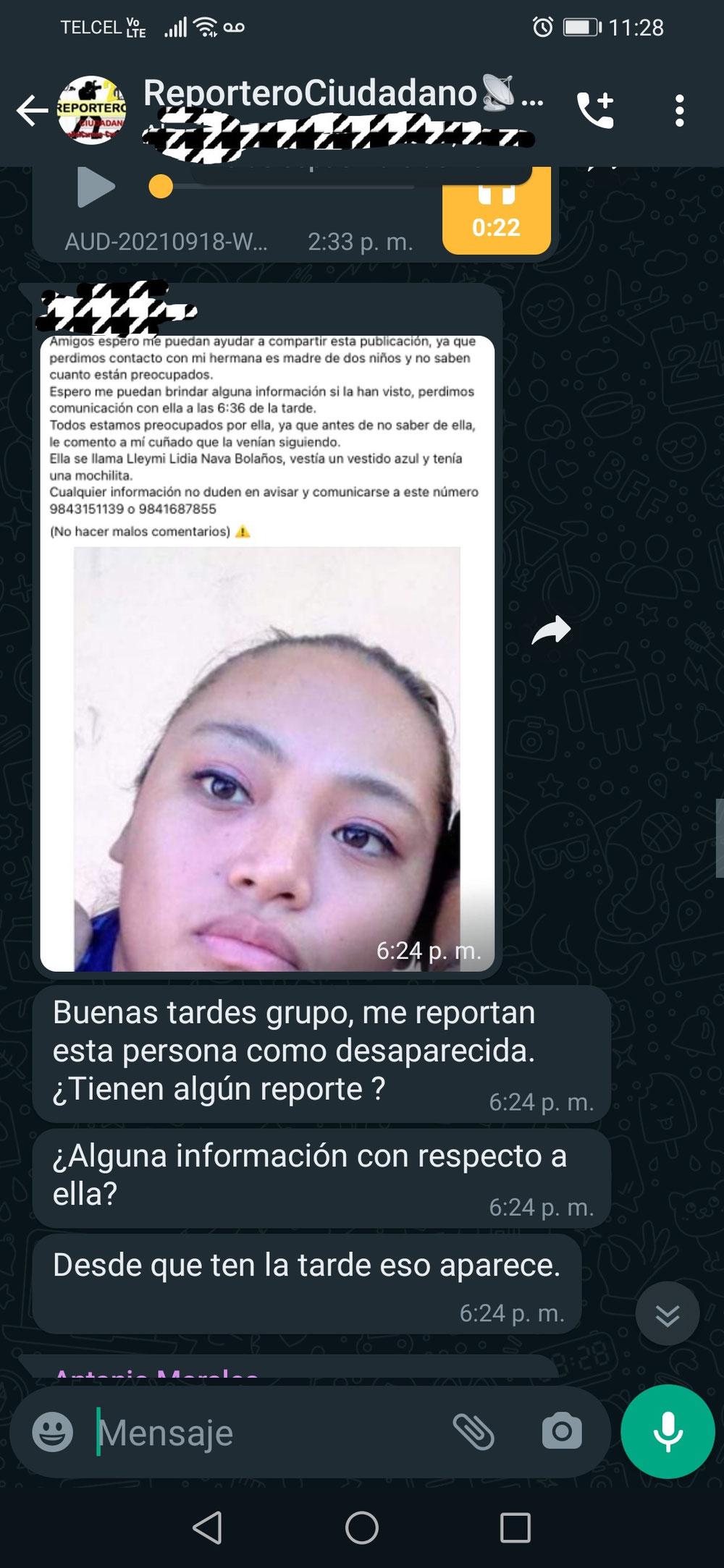 En el grupo de WhatsApp de este medio de comunicación fue comunicado secuestro.