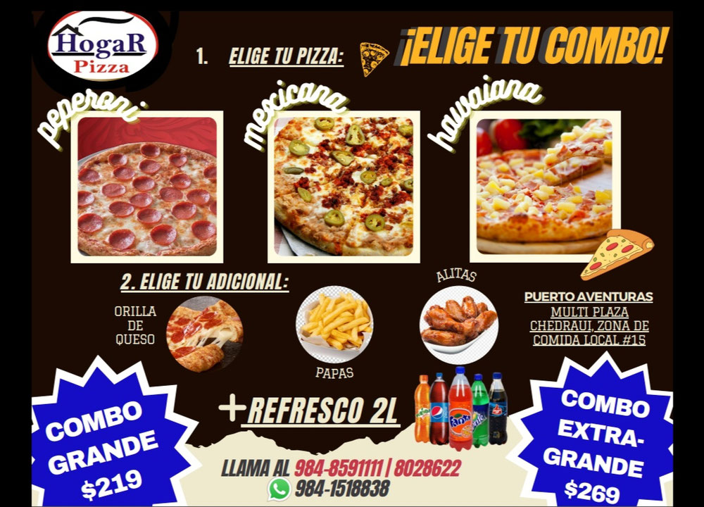 Aprovecha nuestras promociones, la mejor pizza de Puerto Aventuras.