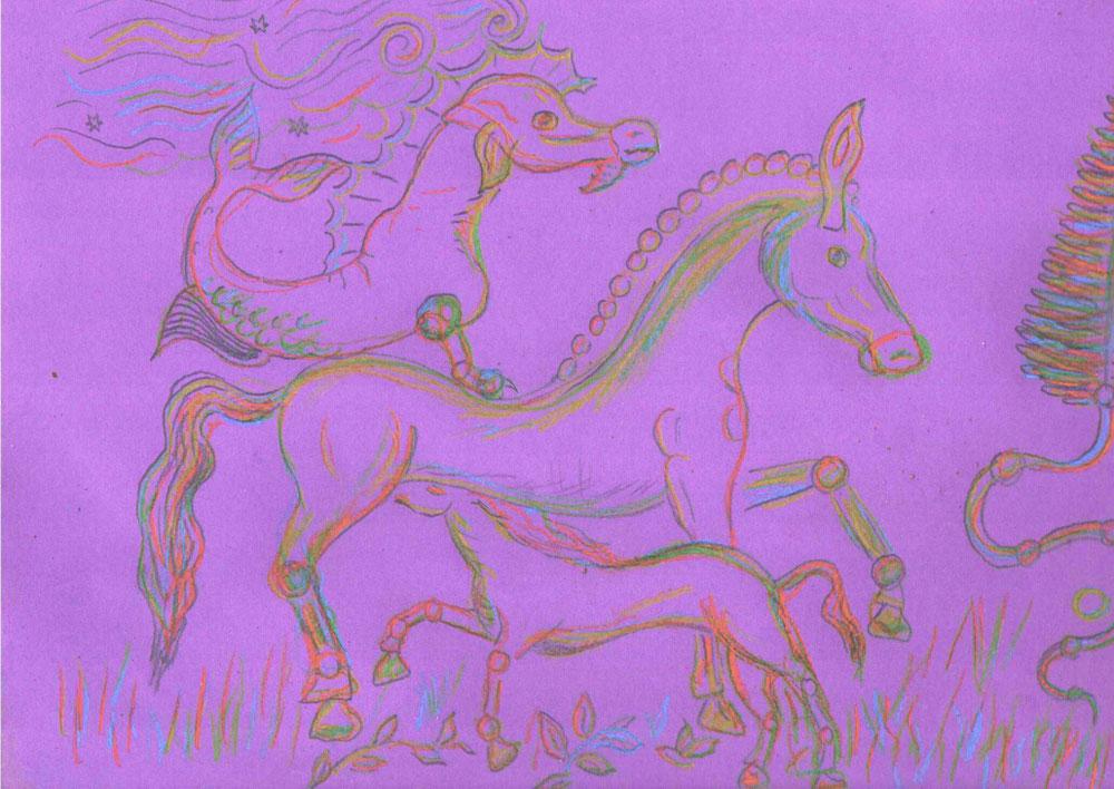 Légende équine gauloise, le cheval marin descend des océans célestes.