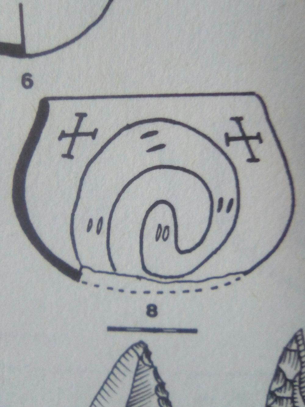 Vase avec spirale emblématique du druidisme et deux croix préchrétiennes, Europe -3000 à -5000 ans.