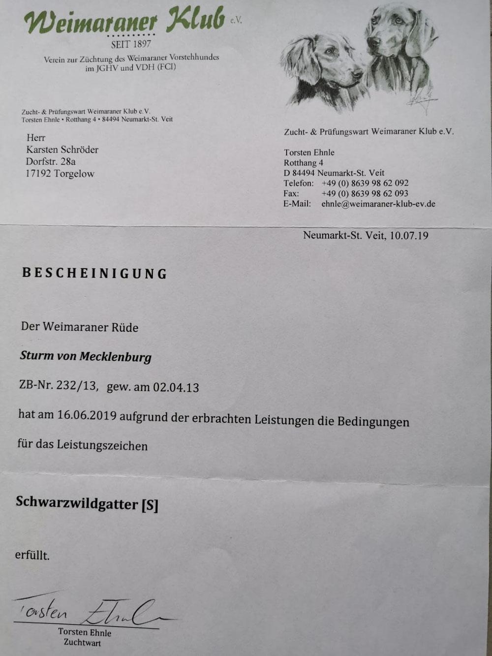 Leistungszeichen Schwarzwildgatter (S)