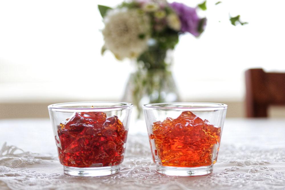 二種類の紅茶のティーゼリー