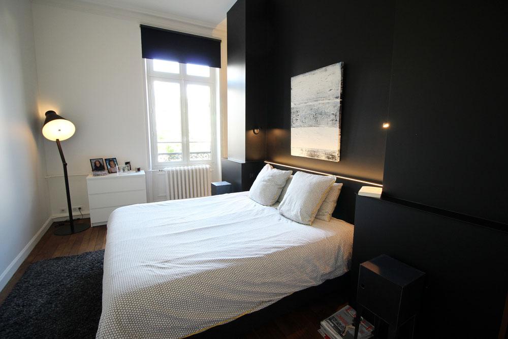 Chambre, tête de lit sur mesure avec led intégré