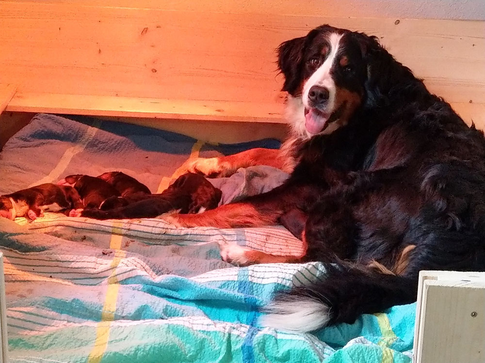 Berta mit ihren Kindern