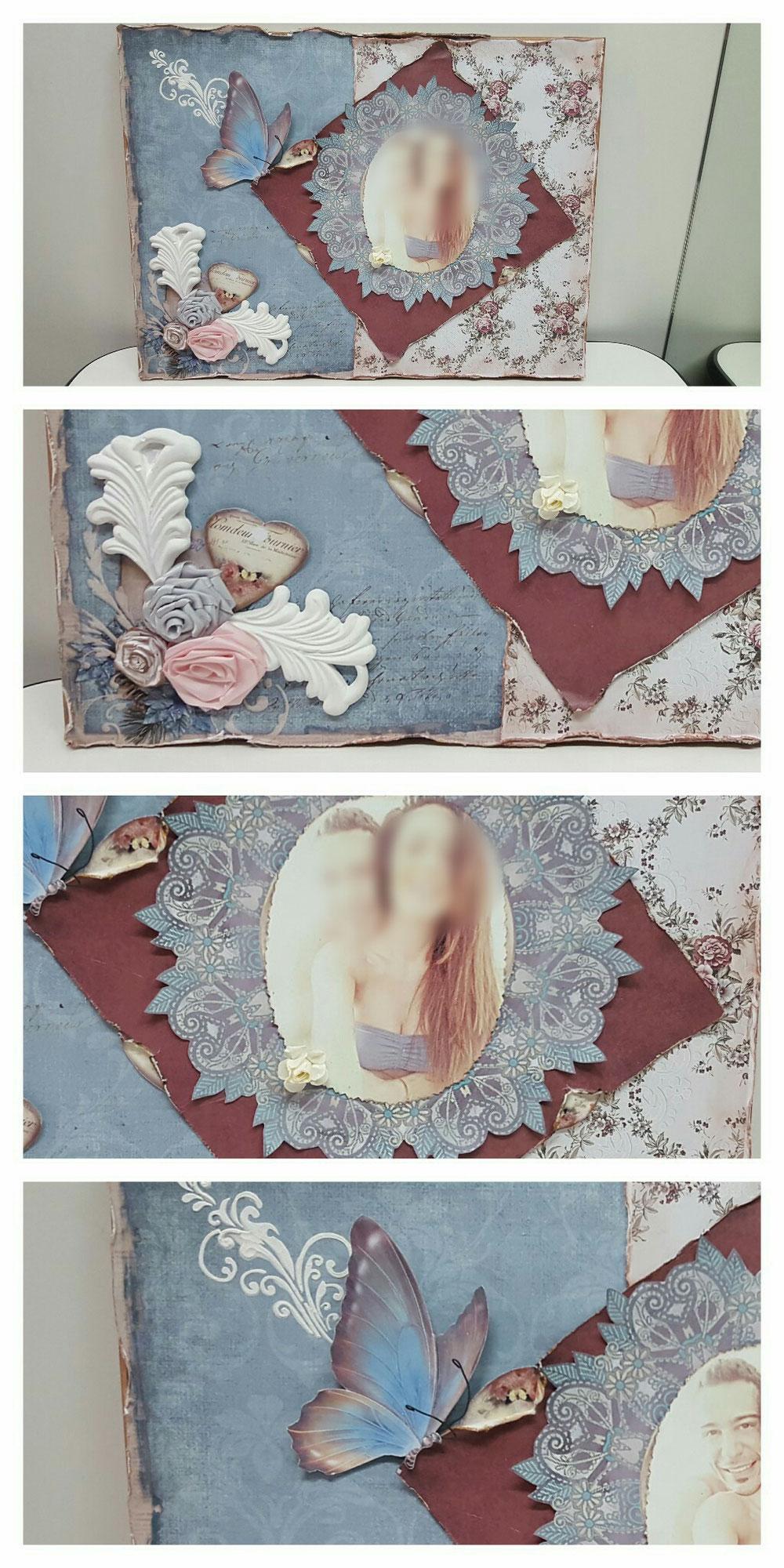 Tela con foto + aggiunta di oggetti decorativi
