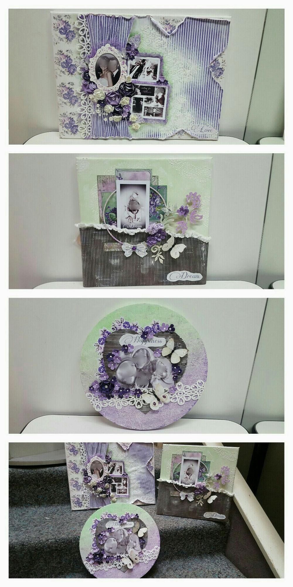 Tele con foto + aggiunta di oggetti decorativi