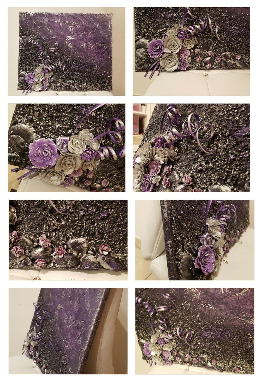 Tella + fiori fatti a mano e aggiunta di oggetti decorativi