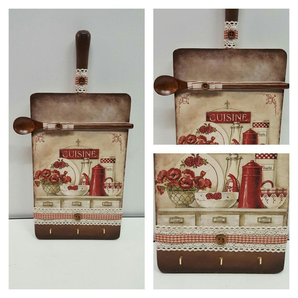 Porta strofinacci in legno + decoupage