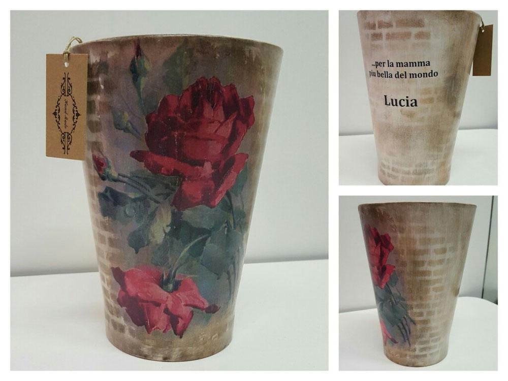 Vaso in ceramica con dedica + decoupage