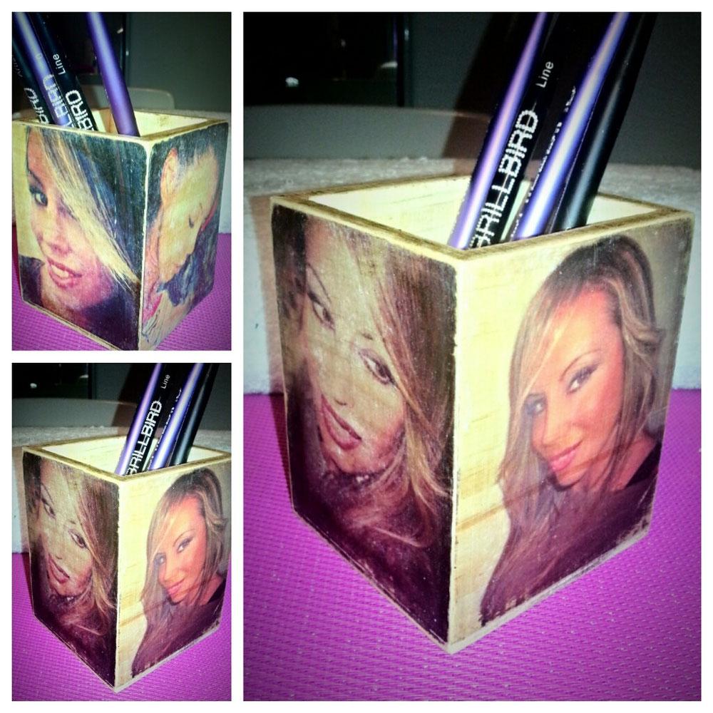 Porta matite in legno con diverse foto