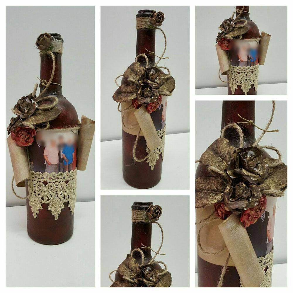 Bottiglia con foto + aggiunta di oggetti decorativi