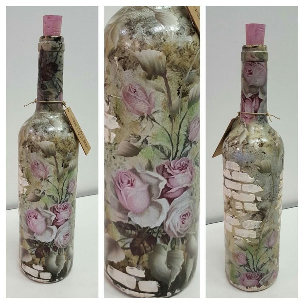 Bottiglia + misto decoupage e pittura a mano