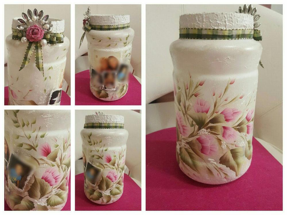 Vaso in vetro con foto + decorazioni fatti a mano