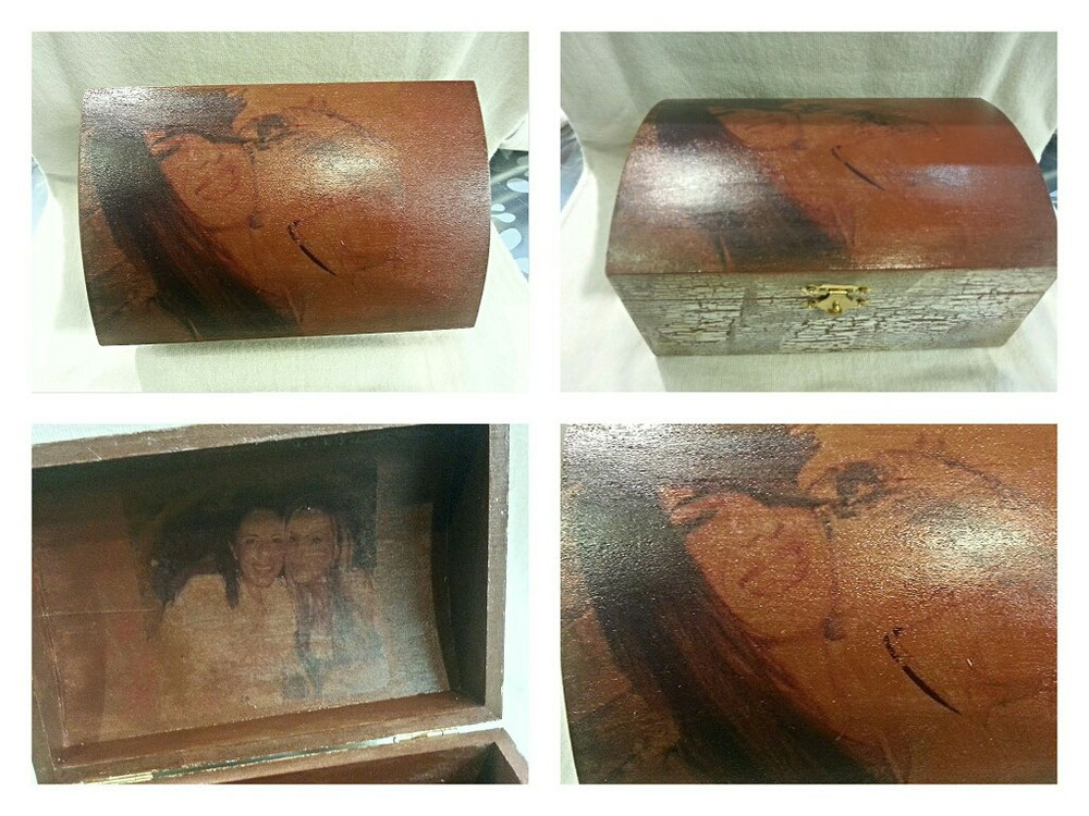 Scatola in legno effetto invecchiato con  foto