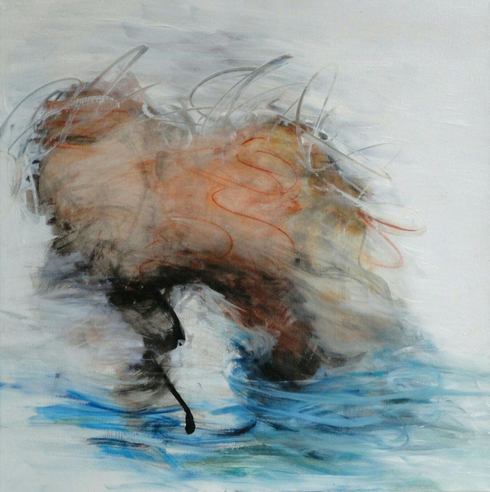 Heat, 60 x 60, mixed media on canvas / available in www.taidelainaamo.fi
