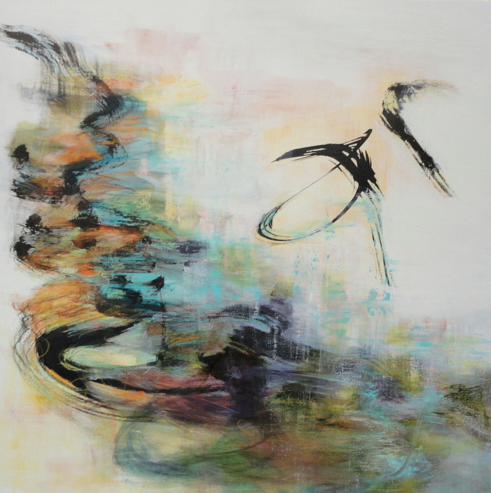 You are my wings, 70 x 70, mixed media on canvas /private collection