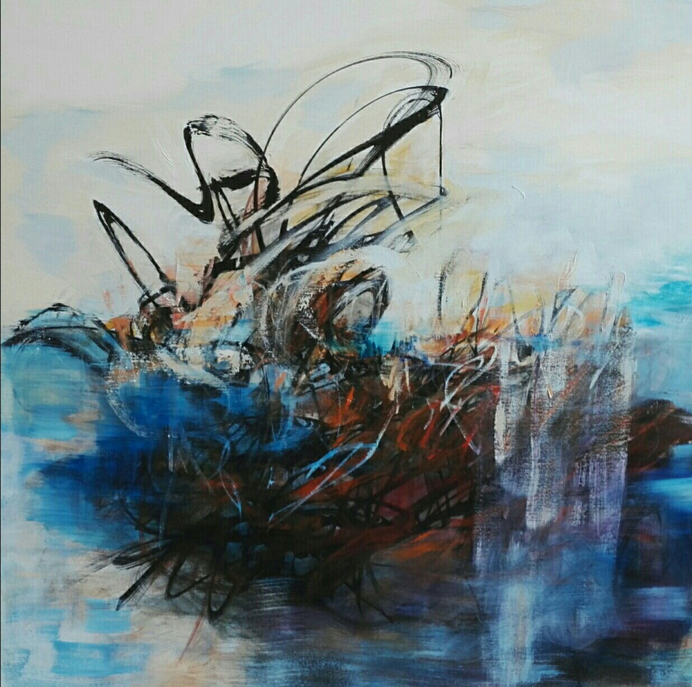 Fallen moon, 90 x 90, mixed media on canvas