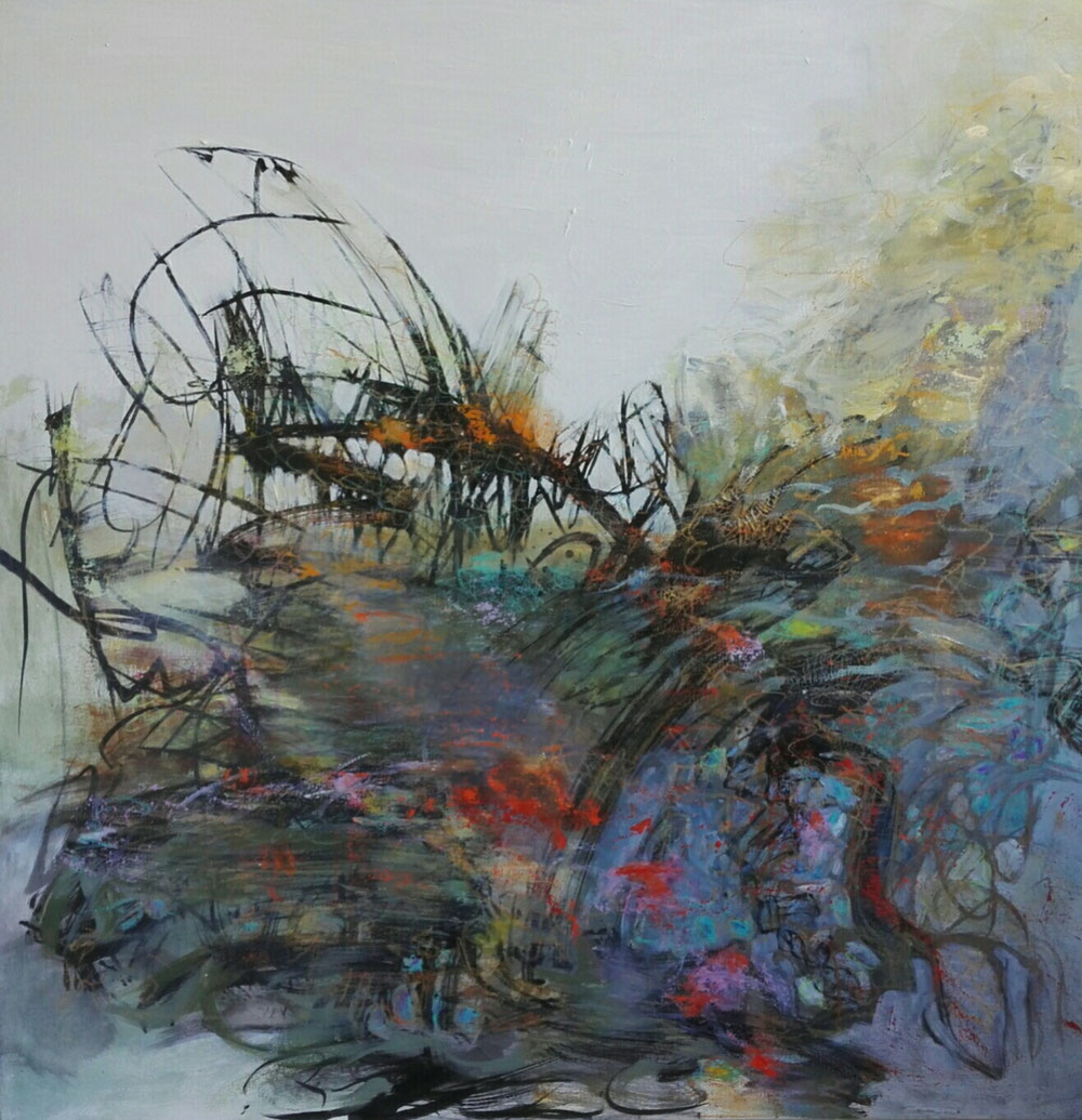 Peacock dancing in the willows, 100 x 100 / private collection