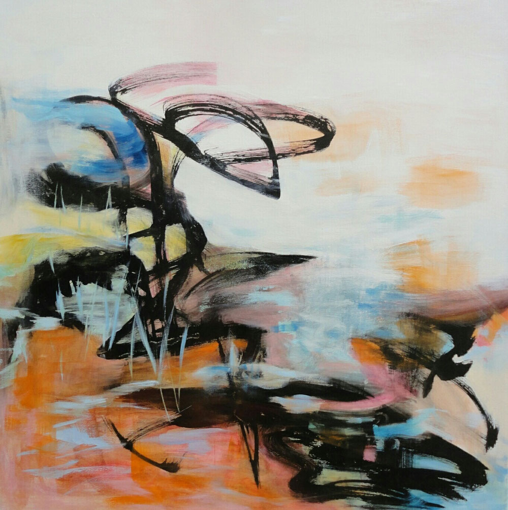 After the rain, 90 x 90, mixed media on canvas / private collection